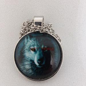 Wolf Spirit Glass Cabochon Necklace